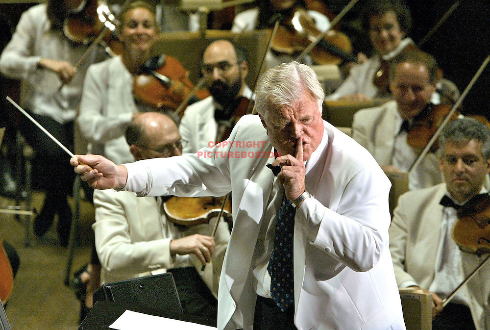 "Massachusetts Sr Senator Ted Kennedy conducts the Boston Pops during ""A Tribute To Ted""."