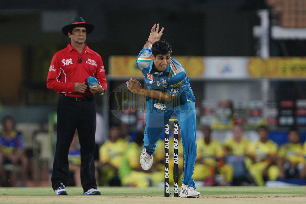 Ashish Nehra during match 24 of the the Indian Premier League ( IPL) 2012  between The Chennai Superkings and the Pune Warriors India held at the M. A. Chidambaram Stadium, Chennai on the 19th April 2012..Photo by Jacques Rossouw/IPL/SPORTZPICS