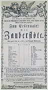 Poster for the opera 'The Magic Flute' ('Die Zauberflote'), 1791.   Wolfgang Amadeus Mozart's (1756-1791) last opera, libretto by Emanuel Schikaneder  (1751-1812), it was first performed in Vienna on 30 September 1791.