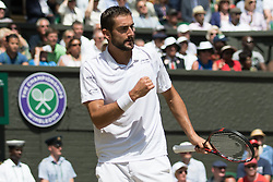 LONDON, ENGLAND - Wednesday, July 6, 2016: Marin Cilic (CRO) during the Gentlemen's Single Quarter Finals match on day ten - of the Wimbledon Lawn Tennis Championships at the All England Lawn Tennis and Croquet Club. (Pic by Kirsten Holst/Propaganda)