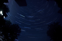 Star Trails 01:00-01:59. Composite of images taken with a Nikon D850 camera and 8-15 mm fisheye   (ISO 100, 15 mm, f/5.6, 30 sec)