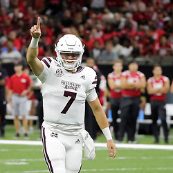 Aug 31, 2019; New Orleans, LA, USA; Mississippi State Bulldogs quarterback Tommy Stevens (7) celebrates after a touchdown pass against the Louisiana-Lafayette Ragin Cajuns during the first half at the Mercedes-Benz Stadium. Mandatory Credit: Derick E. Hingle-USA TODAY Sports