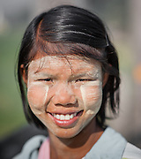 Portrait of Burmese girl with thanaka (Myanmar)