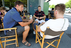 Gasper Vidmar, Jaka Klobucar and Miha Zupan of Slovenia Basketball national team at departure to Rogla before World Championship in Turkey, on July 10, 2010 at KZS, Ljubljana, Slovenia. (Photo by Vid Ponikvar / Sportida)