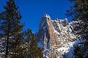 Sentinel Rock in winter, Yosemite National Park, California USA