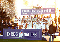 England captain Dylan Hartley raises the RBS 6 Nations Trophy - Mandatory by-line: Ken Sutton/JMP - 18/03/2017 - RUGBY - Aviva Stadium - Dublin,  - Ireland v England - RBS 6 Nations