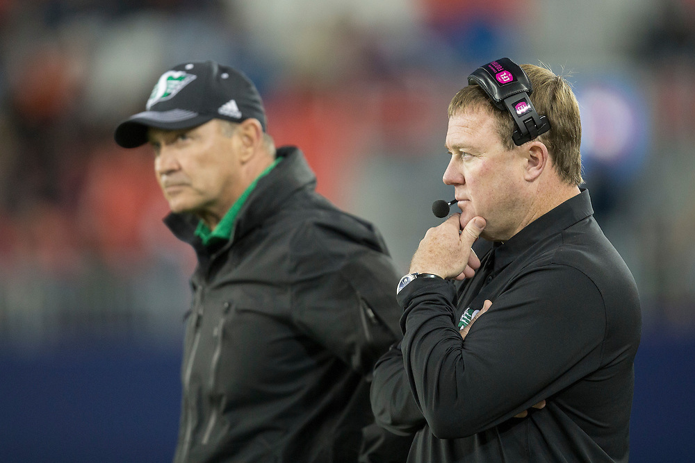 Saskatchewan head coach Chris Jones looks on during their CFL game against the Toronto Argonauts at BMO Field in Toronto on Saturday, October 15, 2016.  (CFL PHOTO - Geoff Robins)