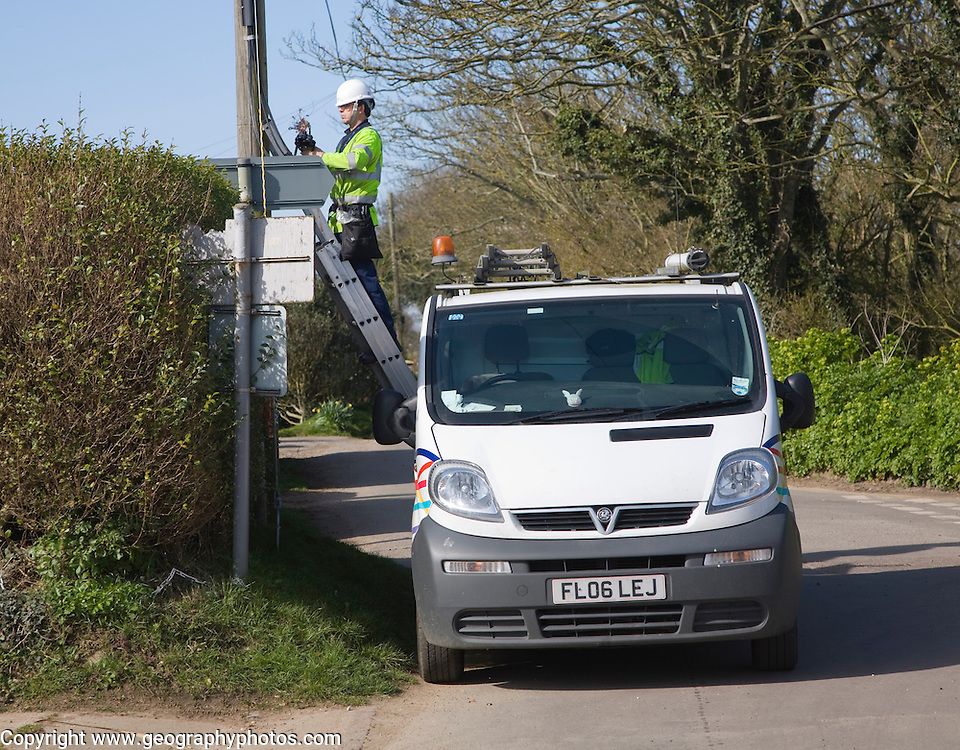 BT engineer working on phone lines