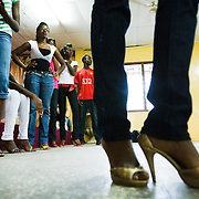 Models practice their catwalk during a rehearsal in Ghana's capital Accra on Thursday May 21, 2009.