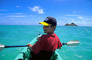 Kayaking, Kailua Bay, Kailua, Oahu, Hawaii, USA<br />