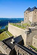 Festung Königstein, Elbsandsteingebirge, Sächsische Schweiz, Sachsen, Deutschland.|.Fortress Koenigstein, Saxon Switzerland, Saxony, Germany.