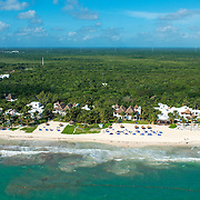 Aerial view of the Belmond Maroma Resort & Spa on the Riviera Maya. Mexico