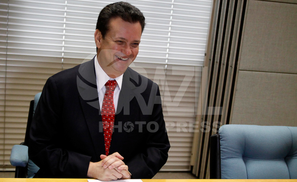 SAO PAULO, SP, 05 DE MARCO 2012 - PALESTRA GOVERNADOR DE PERNAMBUCO EDUARDO CAMPOS - O prefeito Gilberto Kassab, durante coletiva de imprensa no Edifício Sede da Associação Comercial de São Paulo- ACSP, na regiao central da capital paulista na manha desta segunda-feira, 05. (FOTO: WILLIAM VOLCOV / BRAZIL PHOTO PRESS).