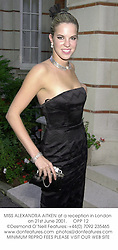 MISS ALEXANDRA AITKEN at a reception in London on 21st June 2001.<br />
