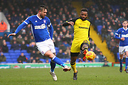 Ipswich Town's Luke Chambers and Burton Albion's Hope Akpan during the EFL Sky Bet Championship match between Ipswich Town and Burton Albion at Portman Road, Ipswich, England on 10 February 2018. Picture by John Potts.