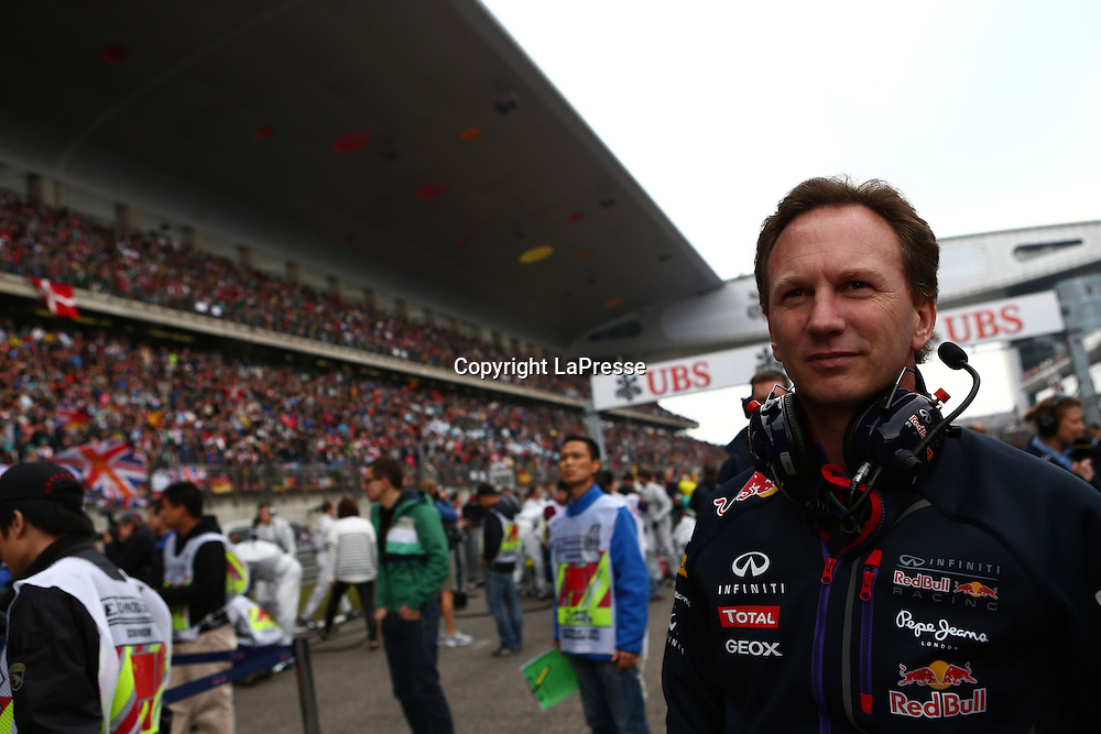 &copy; Photo4 / LaPresse<br /> 20/4/2014 Shanghai, China<br /> Sport <br /> Grand Prix Formula One China 2014<br /> In the pic: race, Christian Horner (GBR), Red Bull Racing, Sporting Director