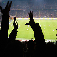 Supporters cheers after goal at Italian Championship soccer game, AC Milan - Juventus on february 26, 2012 in Milan