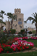 Scenes from Tunisia's resort area, El Kantouai tourist shopping area and flowerbeds