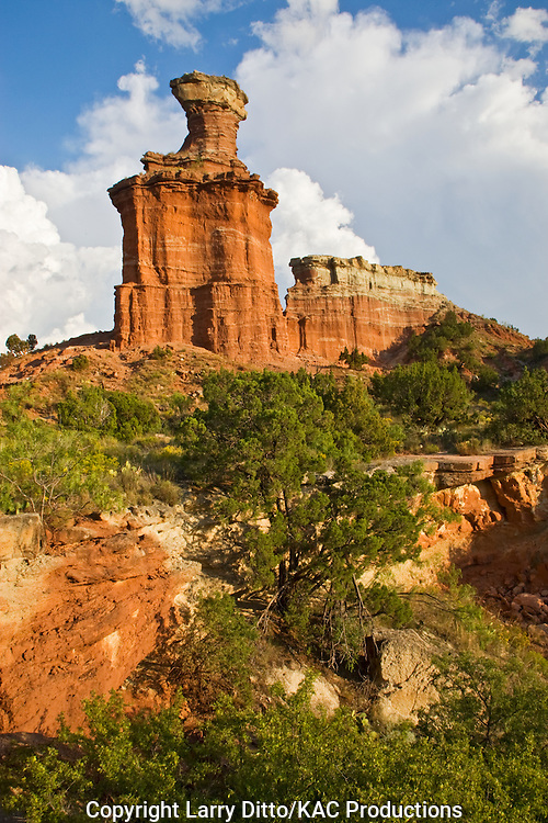 Lighthouse formation, Palo Duro Canyon State Park, Texas panhandle near Amarillo, sunset