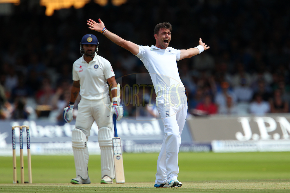 James Anderson of England appeals for the wicket of Murali Vijay of India during day three of the 2nd Investec test match between England and India held at Lords cricket ground in London, England on the 19th July 2014<br /> <br /> Photo by Ron Gaunt / SPORTZPICS/ BCCI