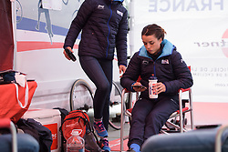 Audrey Cordon-Ragot passes time before her call at UCI Road World Championships Elite Women's Individual Time Trial 2017 a 21.1 km time trial in Bergen, Norway on September 19, 2017. (Photo by Sean Robinson/Velofocus)