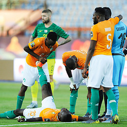 Max Gradel of Ivory Coast gets cramp during the 2019 Africa Cup of Nations Finals game between Ivory Coast and South Africa at Al Salam Stadium in Cairo, Egypt on 24 June 2019  <br /> Photo : Icon Sport