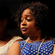 Leisha Jones, left, Joy Gregory, center, and Beth Swindell rehearse before a performance of Smokey Joe's Cafe Sunday June 15, 2014 at the Scottish Rite Theater in Wilmington, N.C. (Jason A. Frizzelle)