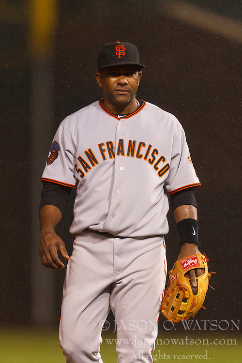 May 14, 2011; Chicago, IL, USA;  San Francisco Giants shortstop Miguel Tejada (10) stands in the infield during the sixth inning against the Chicago Cubs at Wrigley Field.  San Francisco defeated Chicago 3-0 in a rain shortened game.
