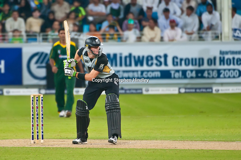 Dubai, UAE.  Martin Guptill at bat during the 2nd T20 (Twenty20) match between Pakistan and New Zealand held at Dubai International Cricket Stadium on the 13th November, 2009.  Photo by: Stephen Hindley/SPORTDXB/PHOTOSPORT