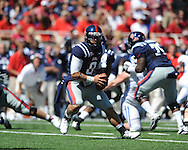 Ole Miss quarterback Jeremiah Masoli (8) at Vaught-Hemingway Stadium in Oxford, Miss. on Saturday, October 2, 2010. Ole Miss won 42-35 to improve to 3-2..
