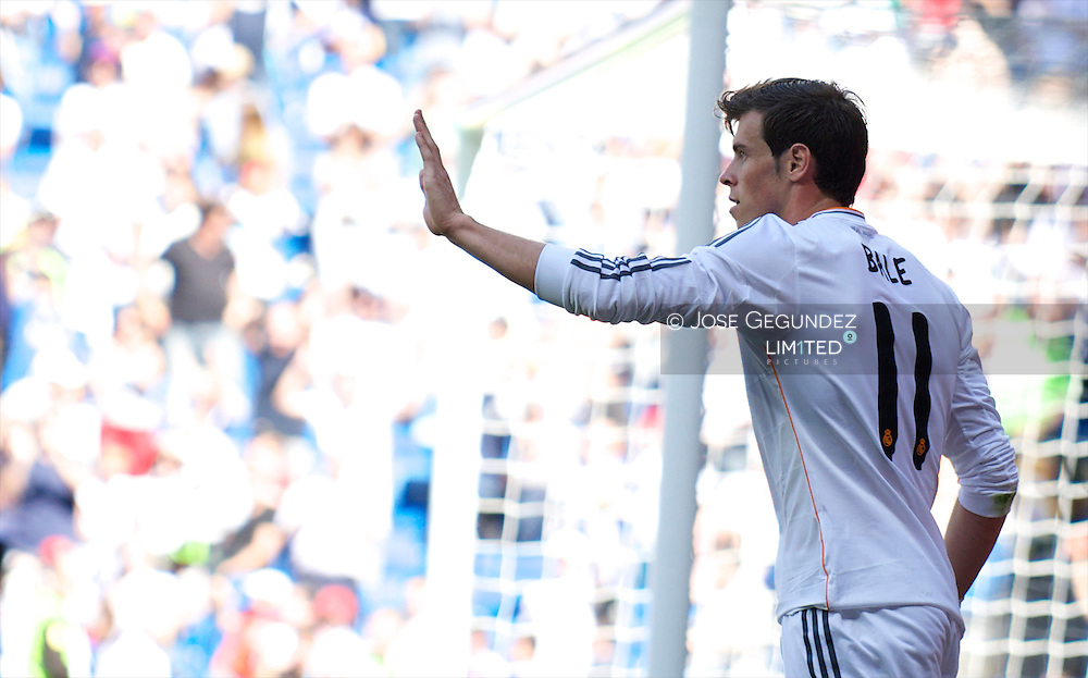 Gareth Bale celebrates his goal during Real Madrid v Espanol, La Liga football match at Santiago Bernabeu on May 18, 2014 in Madrid, Spain
