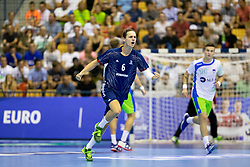 Noah Gaudin of France celebrates goal during handball match between National teams of France and Slovenia in Final of 2018 EHF U20 Men's European Championship, on July 29, 2018 in Arena Zlatorog, Celje, Slovenia. Photo by Urban Urbanc / Sportida