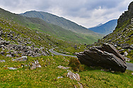 The Ballaghveema Gap winds and turns its way through rugged terrain in Co. Kerry.
