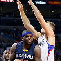 09 November 2015: Memphis Grizzlies forward Zach Randolph (50) drives past Los Angeles Clippers forward Blake Griffin (32) during the Los Angeles Clippers 94-92 victory over the Memphis Grizzlies, at the Staples Center, in Los Angeles, California, USA.