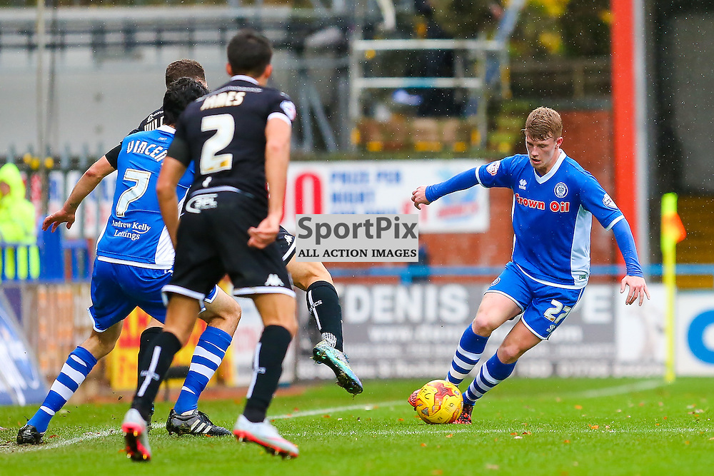 Andy Cannon in action with Peter Vincent and Reece James during Rochdale v Wigan Athletic , Sky Bet League One Match, 14 November 2015<br /> Picture by Jackie Meredith/SportPix.org.uk