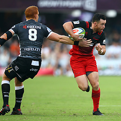 DURBAN, SOUTH AFRICA - MARCH 26:  Philip van der Walt of the Cell C Sharks looks to tackle Ryan Crotty of the BNZ Crusaders during the Super Rugby match between Cell C Sharks and BNZ Crusaders at Growthpoint Kings Park on March 26, 2016 in Durban, South Africa. (Photo by Steve Haag)<br /> <br /> images for social media must have consent from Steve Haag