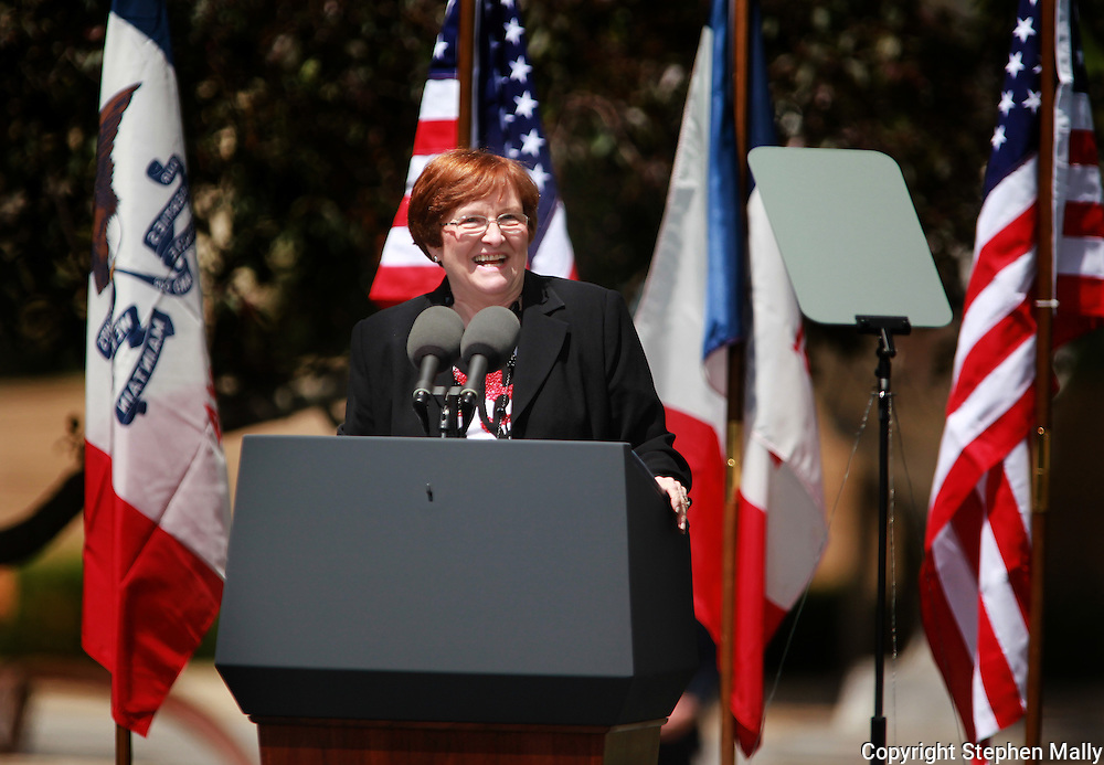 Iowa Lt Governor Patty Judge speaks at a rally for Iowa Governor Chet Culver during a visit by Vice President Joe Biden at Green Square Park in Cedar Rapids, Iowa on Tuesday, May 18, 2010.