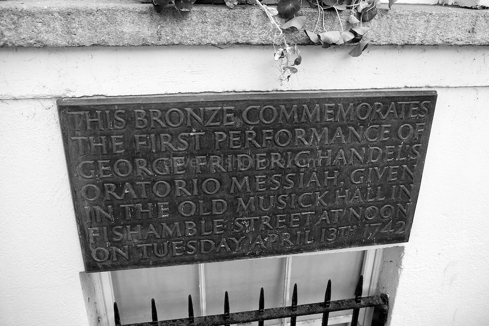 Bronze Plaque marking the site of Mr. Neale's Music Hall, Fishamble St. Dublin, where Handel first performed the Messiah.