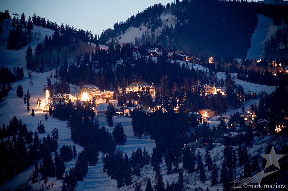 dusk at Deer Valley Resort's Snow Park Lodge