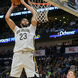 Mar 11, 2018; New Orleans, LA, USA; New Orleans Pelicans forward Anthony Davis (23) dunks against the Utah Jazz during the first half at the Smoothie King Center. Mandatory Credit: Derick E. Hingle-USA TODAY Sports