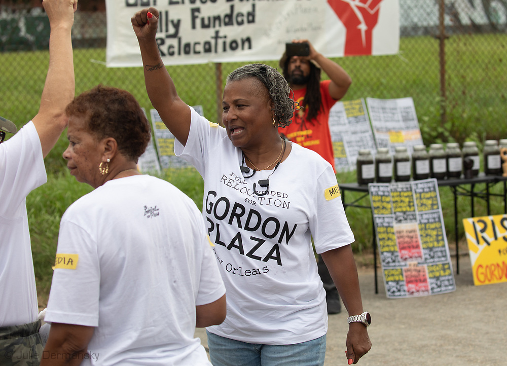 Shannon  Rainey  and other residents and suporters at a Rally for Healthy  Neighborhoods: A Vision For the Future, held by residents of Gordon Plaza and their supporters. They demand a fully funded relocation from their homes built on top of the Agriculture Street Landfill Site, on land the city sold them.