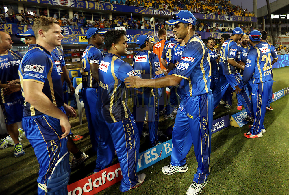 Rajasthan Royals team celebrates in dugout after winning the match 15 of the Pepsi IPL 2015 (Indian Premier League) between The Rajasthan Royals and The Chennai Superkings held at the Sardar Patel Stadium in Ahmedabad , India on the 19th April 2015.<br /> <br /> Photo by:  Sandeep Shetty / SPORTZPICS / IPL
