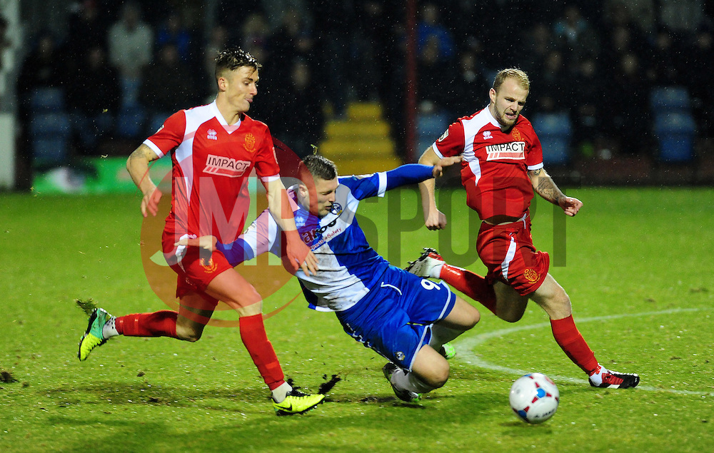 Bristol Rovers' Ryan Brunt loses out to Alfreton Town's Luke Graham and Alfreton Town's Bradley Wood - Photo mandatory by-line: Neil Brookman/JMP - Mobile: 07966 386802 - 11/11/2014 - SPORT - Football - Derbyshire - North Street - Alfreton Town v Bristol Rovers - Vanarama Conference
