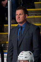 KELOWNA, CANADA - FEBRUARY 23: Kelowna Rockets' head coach Adam Foote stands on the bench against the Kamloops Blazers  on February 23, 2019 at Prospera Place in Kelowna, British Columbia, Canada.  (Photo by Marissa Baecker/Shoot the Breeze)