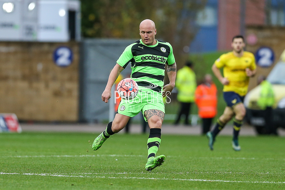 Forest Green's David Pipe replaces the injured Dale Bennett during the The FA Cup match between Oxford United and Forest Green Rovers at the Kassam Stadium, Oxford, England on 6 December 2015. Photo by Shane Healey.