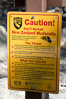 New Zealand Mudsnails Invasive Species Warning Sign, Angeles National Forest, California