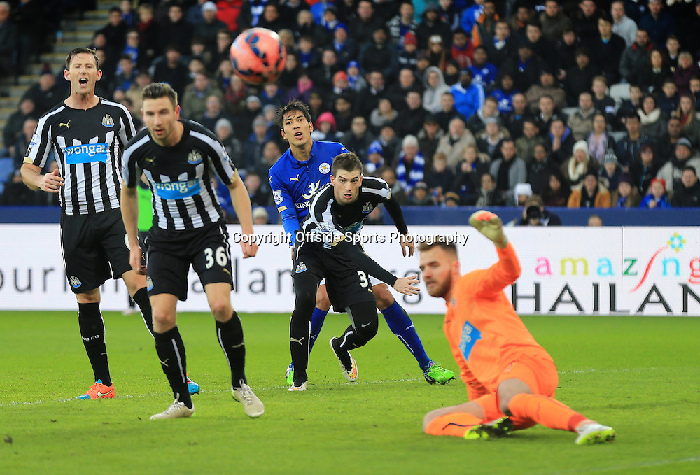 3 January 2015 - The FA Cup 3rd Round - Leicester City v Newcastle United - Leonardo Ulloa of Leicester City looks on as Newcastle clear  their lines - Photo: Marc Atkins / Offside.