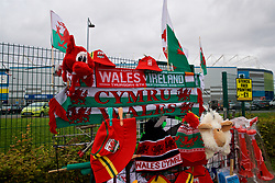 CARDIFF, WALES - Thursday, September 6, 2018: Wales flags and scarves on sale before the UEFA Nations League Group Stage League B Group 4 match between Wales and Republic of Ireland at the Cardiff City Stadium. (Pic by Laura Malkin/Propaganda)