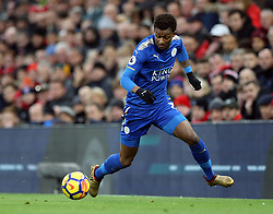 30.12.2017, Anfield Road, Liverpool, ENG, Premier League, FC Liverpool vs Leicester City, 21. Runde, im Bild Demarai Gray of Leicester City // Demarai Gray of Leicester City during the English Premier League 21th round match between FC Liverpool and Leicester City at the Anfield Road in Liverpool, Great Britain on 2017/12/30. EXPA Pictures © 2017, PhotoCredit: EXPA/ Focus Images/ Simon Moore<br /> <br /> *****ATTENTION - for AUT, GER, FRA, ITA, SUI, POL, CRO, SLO only*****