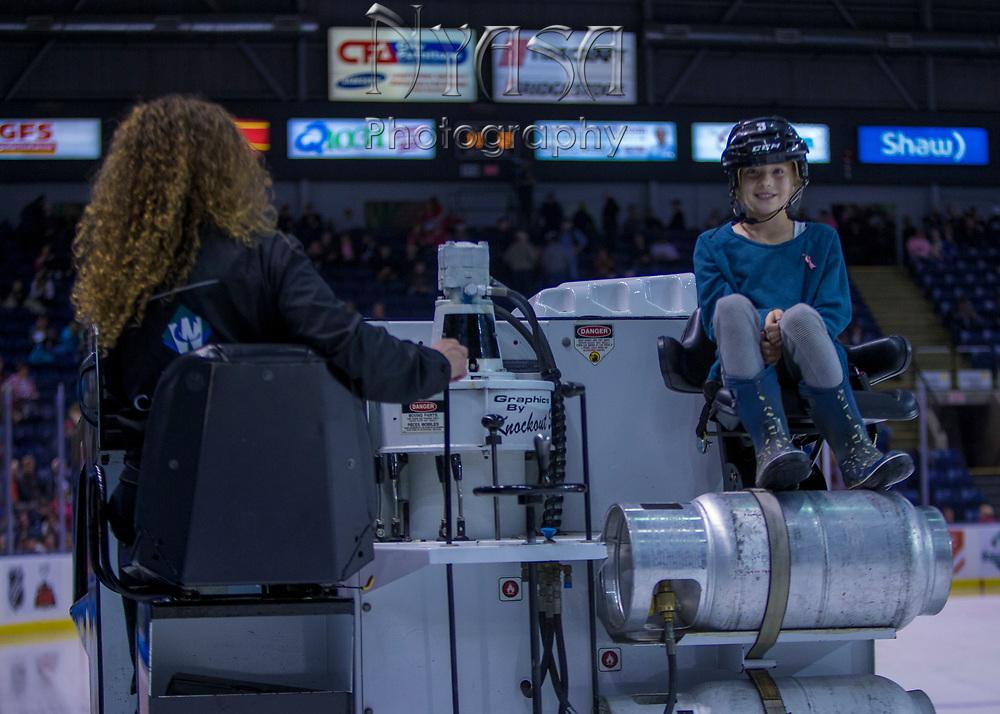 KELOWNA, CANADA - OCTOBER 21:  Orchard Park Zamboni Rider at the Kelowna Rockets game on October 21, 2017 at Prospera Place in Kelowna, British Columbia, Canada.  (Photo By Cindy Rogers/Nyasa Photography,  *** Local Caption ***
